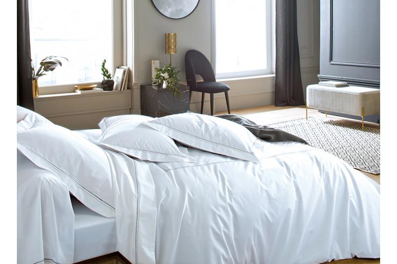 Linge de lit Souvenirs Ardoise Blanc des Vosges